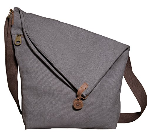 Kemy's Canvas Crossbody Bags for Women Large Satchel Cross Body Travel Bag Vintage Over the Shoulder Purse Oversized Traveling (Gray) (Womens Oversized Handbag)