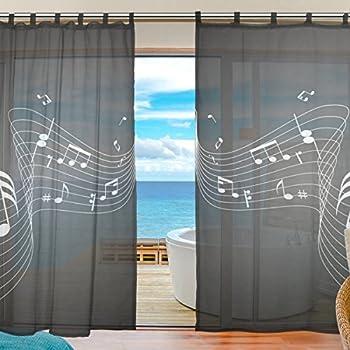 JSTEL Bedroom Decor Living Room Decorations Notes Music Pattern Print Tulle  Polyester Door Window Gauze Sheer