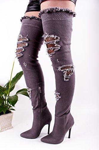 Lolli Couture für immer Link Kunstleder Lace UP lange Kampfstil mit Ferse kniehohe lange Stiefel Greydenim-m33-9