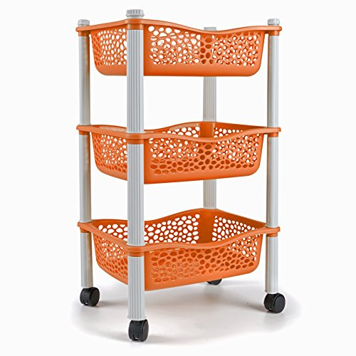 868bc3bfeda Maxi Nature Kitchenware Kitchen storage trolley cart with storage baskets  and wheels Fruit Vegetable Rack - Heavy Duty Plastic - Orange