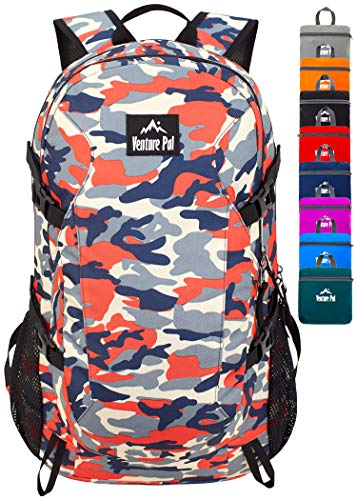 (Venture Pal 40L Lightweight Packable Backpack with Wet Pocket - Durable Waterproof Travel Hiking Camping Outdoor Daypack for Women Men-Red Camo)
