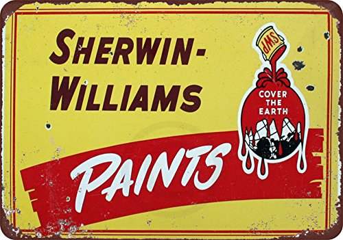 Sherwin Williams Paints Yellow Vintage Reproduction 8 X 12 Metal Sign