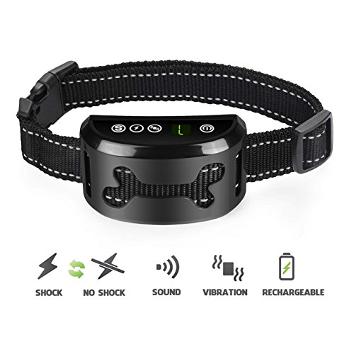 POP VIEW Dog Bark Collar with Static Vibration Correction, USB Rechargeable with 4 Training Modes for All Breeds and Sizes by POP VIEW