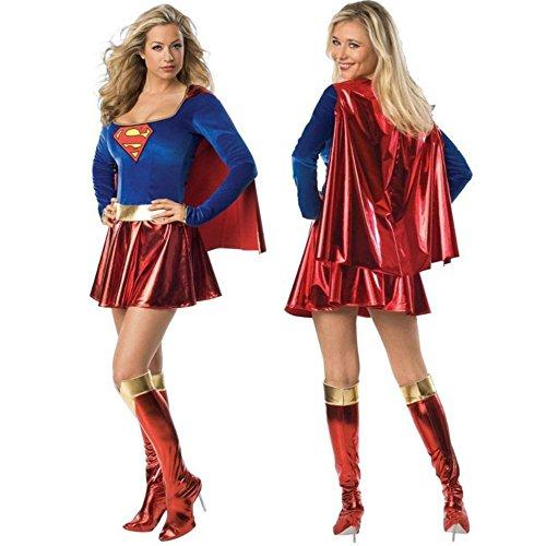 Ailisen Super Hero Super Girl Ladies Wonder Woman Costume Fancy Dress Women Halloween Customes Women Superman (Adult Halloween Custome)