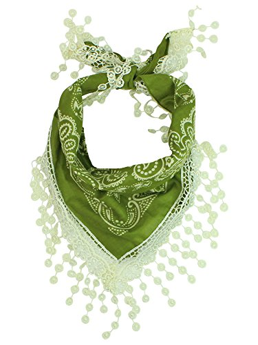 Green Traditional Cotton Bandana Scarf With Crochet Lace Trim - Green Crochet Scarf