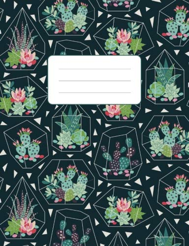 "Composition Notebook: Dark Succulent Terrarium Pattern: 100 Pages of 7.5"" x 9.75"" College Ruled Lined Paper, Matte Cover (Journal, Diary, Planner, Notes) (Plant Notebook) by Atlas Notebooks"