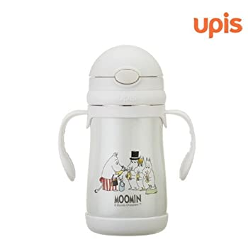 Upis Moomin Stainless Steel Vacuum Insulated Straw Bottle Both Hand Holding  Cup   260ml   Family