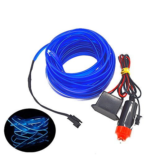 Car Interior Decorative Atmosphere Light Trim 5M Lamp Strip Cold Strobing Lights(Blue,196inch)