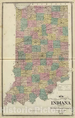 - Historic Map | New sectional and township map of Indiana, 1876 | Vintage Wall Art | 16in x 24in