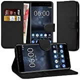 Nokia 3 Case, DN-TECHNOLOGY® High Quality Nokia 3 Leather Case 2017 Model [5.0 Inch Display] Nokia 3 Cover, Premium Leather Wallet [With Card Holder] Case for Nokia 3 [Compatible With Nokia 3 Screen Protector] (BLACK)
