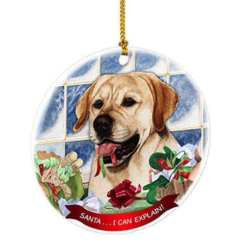 Yellow Labrador Santa I Can Explain Happy Howliday Round White Porcelain Hanging Ornament