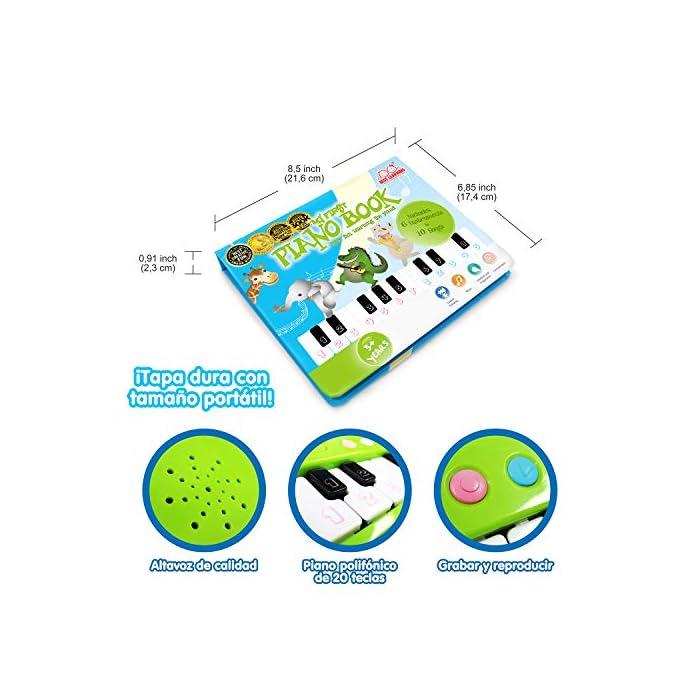51tdl6M86zL MULTI PREMIOS GANADORES DE JUGUETES DE APRENDIZAJE DIVERTIDOS - ganador medalla de oro de madres Choice y premio Tillywig mejor diversión creativa 2017! ¡Ganador del premio al mejor libro infantil creativo del año y a la obra de teatro creativa 2019! ¡Un piano interactivo y portátil del tamaño de un libro para los pequeños amantes de la música! Incluye un cancionero ilustrado con un cuadro de claves codificado por colores con 10 canciones y 6 instrumentos musicales. ¡Aprender a tocar el piano nunca ha sido tan fácil! Una gran idea de regalo de Navidad para niños y niñas; amantes de la música. Grabar y reproducir; ¡Escucha lo bien que has tocado!