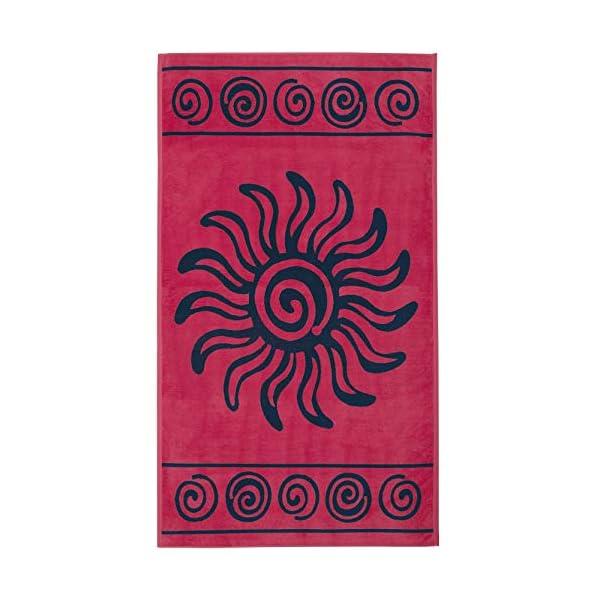 Delindo Lifestyle® Telo mare TROPICALE SOLE ROSSO, 100% coton, fatto di cotone egiziano di alta qualità, 100x180 cm… 1 spesavip