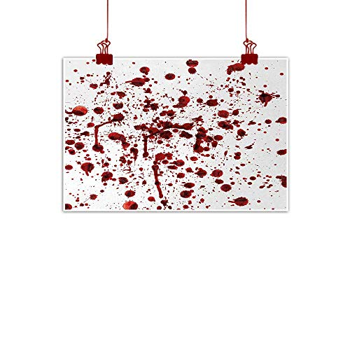 J Chief Sky Canvas Wall Art Horror,Splashes of Blood Grunge Style Bloodstain Horror Scary Zombie Halloween Themed Print,Red White 20