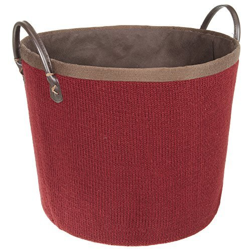 LOMOS® Stabiler Korb in Strick-Optik zum Aufbewahren von Zeitschriften, Feuerholz, Decken, und vieles mehr, in rot