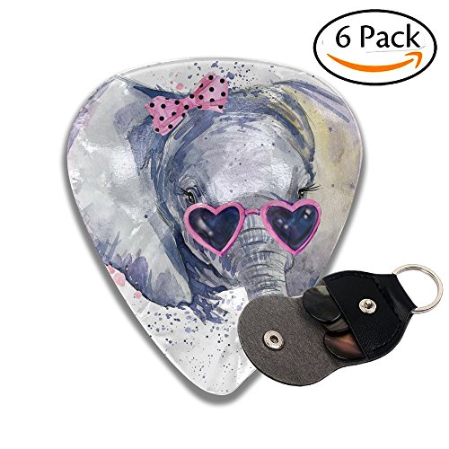 (XiHuan Baby Elephant T Shirt Graphics Baby Elephant Illustration With Splash Watercolor Textured Colorful Celluloid Guitar Picks Plectrums For Guitar Bass .71mm 6 Pack)