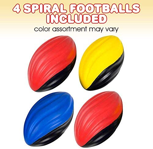 ArtCreativity Two-Toned Spiral Footballs for Kids, Set of 4, Fun Foam Sports Toys for Outdoors, Indoors, Pool, Picnic, Camping, Beach, Sports Party Favors for Boys and Girls