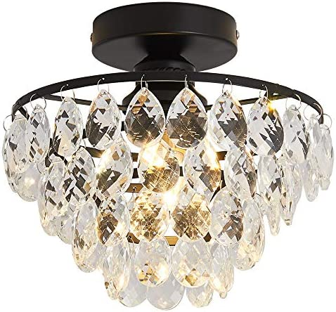 Crystal Chandelier Lighting Mini Flush Mount Ceiling Light Fixture for Hallway Bedroom