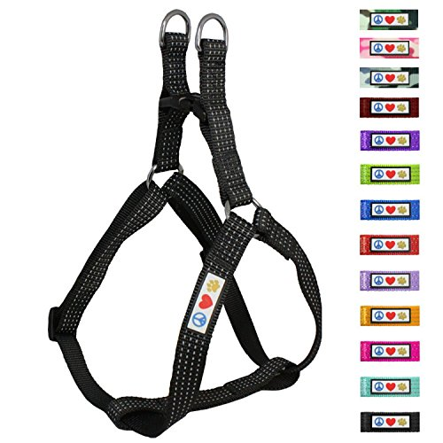 Pawtitas Reflective Step In Dog Harness or Reflective Vest Harness, Comfort Control, Training Walking of your Puppy/Dog Medium Dog Harness M Black Dog Harness