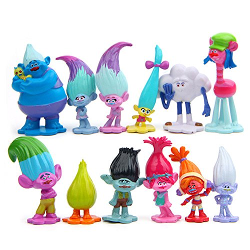 Evursua Trolls Toys Figures Set of 12, Poppy Trolls Doll Cake Topper for Kids Party Supplies,Poppy,Branch and More