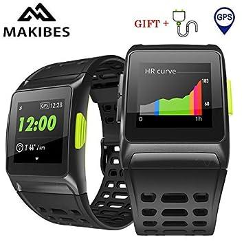 Makibes BR1 GPS Reloj Deportivo Inteligente, Conecta con Strava, Resistente al Agua IP 67 Multideporte Reloj de Pulsera Hombres y Mujeres, Fitness, ...