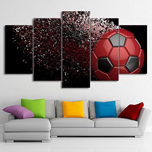 [LARGE] Premium Quality Canvas Printed Wall Art Poster 5 Pieces / 5 Pannel Wall Decor Soccer Abstract Painting, Home Decor Pictures - With Wooden Frame (Soccer Photos Ball)