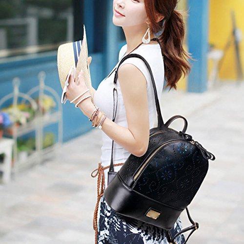 Mujer Ahuecado La Bolsa De Asas Otoño Invierno Nuevo Moda Bolsa De Viaje Bolsa De Estudiantes Simple Bolsa Black