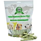 Joueurpet Puffed Rawhide Dental Sticks Chews Treats for Dogs Clean Teeth and Fresh Breath Against Tartar (Thin) 454g