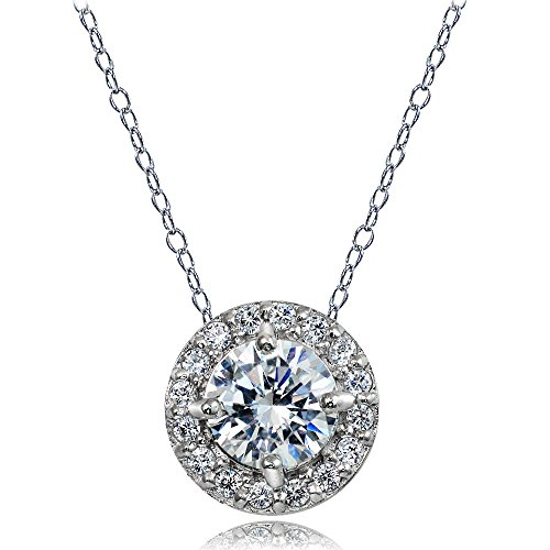 Ice Gems Sterling Silver Cubic Zirconia Round Halo Necklace