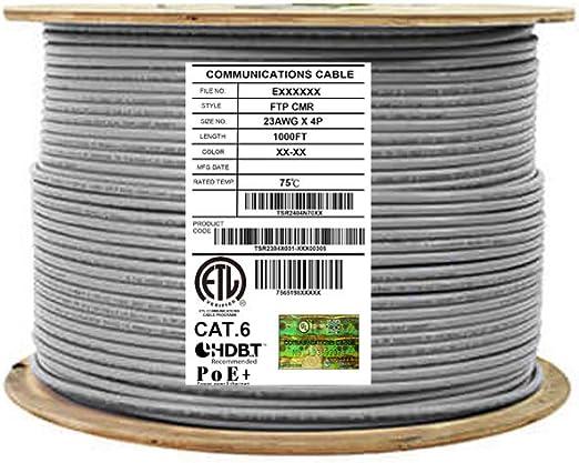 CAT6 CMR Ethernet Network Cable Blue 1000FT NO SPLINE 23 AWG Copper