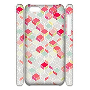 3D Jumphigh Geometric Chevron IPhone 5C Cases Pop Arty, and a Bit Like a Quilt. Nice Retro Design Plus Modern, Summery Shades. for Guys, Case for Iphone 5c for Boys for Guys [White]