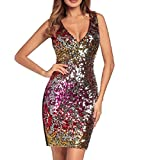 Aooword Women's Sequin Sexy V-Neck Bodycon Mini Pencil Cocktail Clubwear Dress Red S