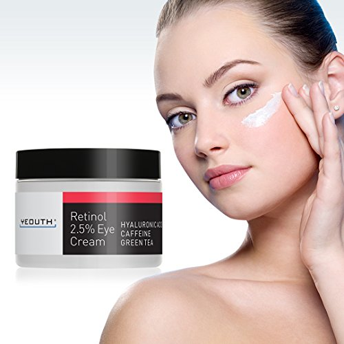 51tdnSpFUFL - Retinol Eye Cream Moisturizer 2.5% from YEOUTH Boosted w/Retinol, Hyaluronic Acid, Caffeine, Green Tea, Anti Wrinkle, Anti Aging, Firm Skin, Even Skin Tone, Moisturize and Hydrate ... (1oz)