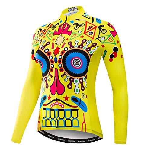 (Women's Cycling Jersey Long Sleeve Bike Jacket Biking Shirt Bicycle Clothing Breathable Yellow Gear Size M)