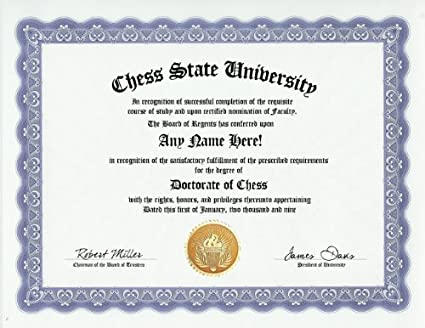 chess playing chess player degree custom gag diploma doctorate certificate funny customized joke gift