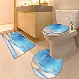 3 Piece Anti-slip mat set Business collage made of many different pictures with text Non Slip Bathroom Rugs
