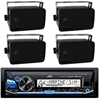 JVC KD-X33MBS Marine Boat Bluetooth USB AUX SD iPod/iPhone Pandora Receiver SiriusXM Ready 4-  2-Way 3.5 Inch Box Boat Speaker (2 pairs) - Great Outdoor Marine Bike Audio System