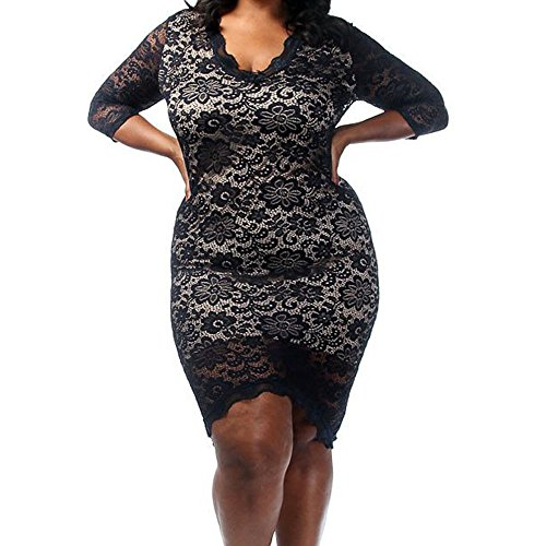 SEBOWEL Women Plus Size Floral Laced V Neck Overlay High Low Midi Bodycon Dress