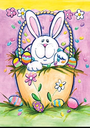 Toland Home Garden Bunny In A Basket 28 x 40 Inch Decorative Pastel Easter Rabbit House Flag ()