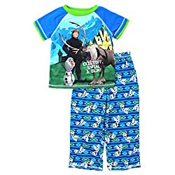 Frozen Kristoff Sven Olaf Boys Blue Poly Pajamas (M (8))