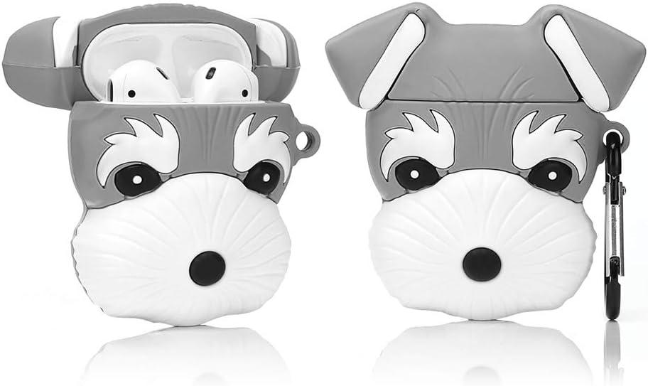 LEWOTE Airpods Silicona Divertida Funda Compatible con Apple Airpods 1 y 2 [Serie de Mascotas Animales] Niñas y Niños (Perro Schnauzer)
