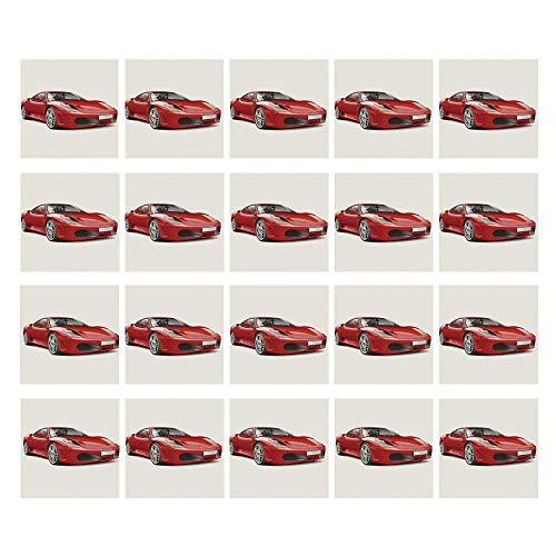 C COABALLA Teen Room Decor 3D Ceramic Tile Stickers 20 Pieces,Fancy Italian Super Car Modern Style New Automobile European Design Decorative for Home,3.9