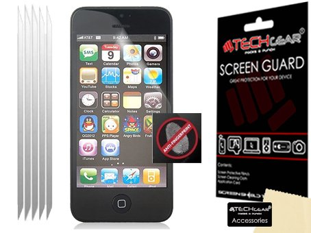 Techgear - Proteggi schermo LCG anti riflesso e anti opacità per iPhone 5S/5C/5, confezione da 5