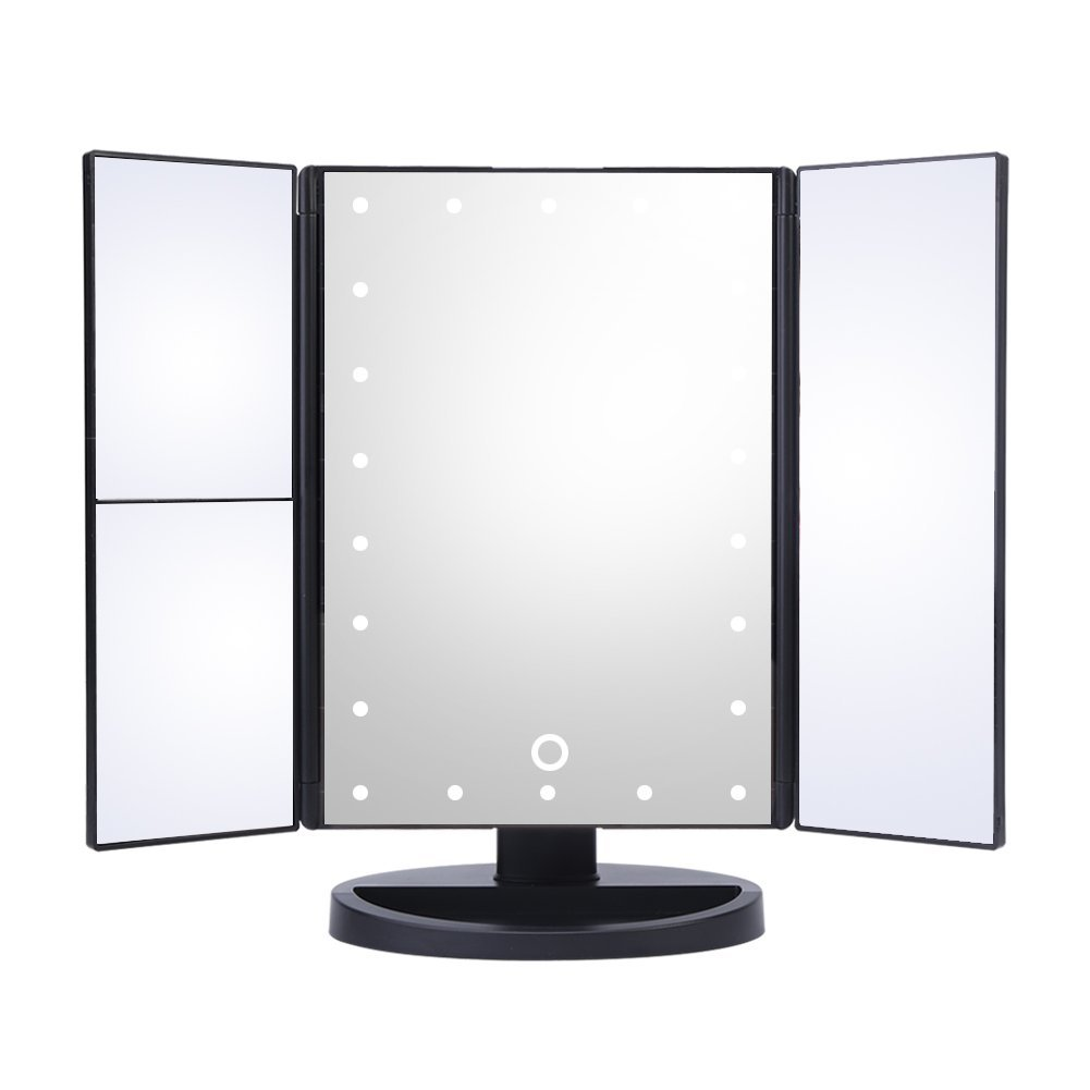 HURRISE Lights Mirror, Tri-fold Make up dressing table mirrors with 22 LED Lights 3X Magnification for Bedroom,Table,Desk (White Light)