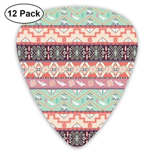 Guitar Picks 12-Pack,Pastel Color Spring Nature Inspired Borders With Tender Rose Blooms Birds And Chevron