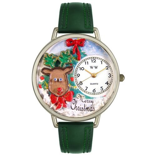 Whimsical Watches Unisex U1220012 Christmas Reindeer Hunter Green Leather Watch