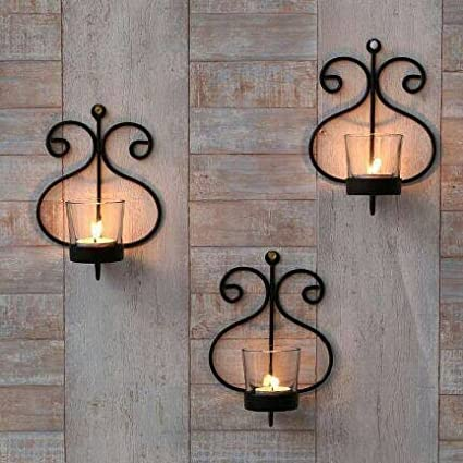 Buy Collectible India Set Of 3 Iron Wall Sconce Candle Holder Wall
