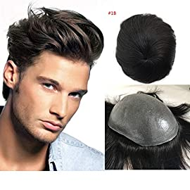 Full Pu Toupee For Men 5 color Super Thin Skin PU Human Hair Mens Toupee Replacement Systems Hairpiece Mens Wig