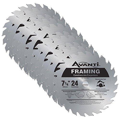 Avanti A0724A 7-1/4-inch 24T 5/8-inch Arbor Framing Circular Saw Blades, 10-Pack ()