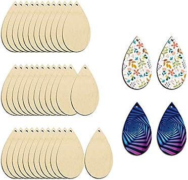 Alphabet Teardrop Wood Earrings Letter E Lightweight